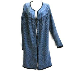 Nic Zoe Duster Knit Blue Marble Leather Trim M